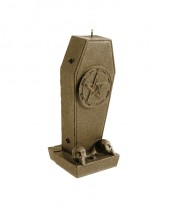 Coffin Candle with Pentagram - Pearl Brass