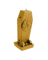 Coffin Candle with Pentagram - Pearl Gold