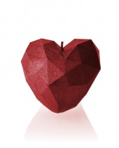 Geometric Heart Candle - Metallic Red
