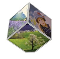 Rotating Cubic Photo Frame - White