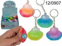 Squeeze Seashell with Pearl Keychain