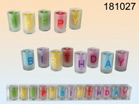 Happy Birthday Candles in Glass Holders