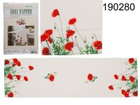 Table Runner with Poppy Flowers