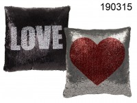 Black/silver Love & Heart Cushion