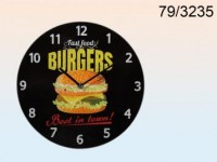 Burgers Glass Wall Clock
