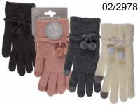 Comfort gloves, Pom Pom Touch, 100% polyester, ...