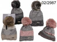 Comfort cap with artifical fur pompom, Stripes, ...
