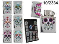Petrol lighter, Coloured Skull, 6 ass., 12 pcs. ...