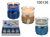 Gel wax candle in glass, with sisal maritime ...