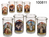 Candle in glass with religious designs, approx. ...