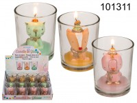 Candle in glass, Cat, bear & fox, approx. 5,5 x ...