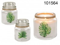 Scented candle in glass with lid, (White Cotton) ...