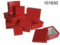 Red gift boxes with white dots, ca. 22,5 x 22,5 x ...