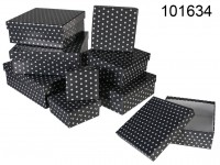 Grey gift boxes with white dots, ca. 22,5 x 22,5 ...
