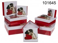 Red/white gift boxes, Dog with heart, ca. 22.5 x ...