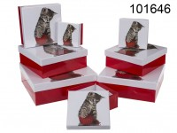Red/white gift boxes, Cat, ca. 22,5 x 22,5 x 8 ...