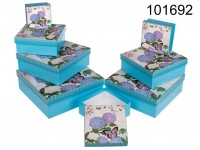 Light blue gift box with butterfly & flowers, ca. ...
