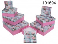 Pink gift box with roses & hearts, ca. 22,5 x ...
