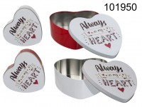 Heart shaped metal tin box, always in my heart, ...