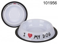 Stainless-steel feeding dish, I love my dog, ca. ...