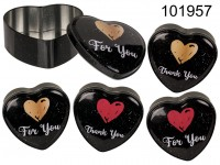 Heart shaped metal tin box, For you & Thank you, ...