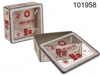 Square metal-tin-box, First Aid Kit, with window, ...