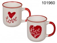 New bone china mug, red heart & I love you, ca. ...