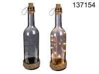 Smoked glass bottle with 10 warm white LED, cork ...