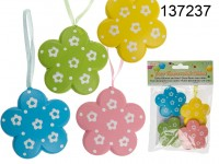Plastic flowers with ribbon, ca. 6 cm, 4 colours ...