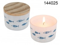 Scented Candle (Ocean) in glass with wooden lid, ...