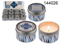 Scented candle in tin, Retro, with lid, ( white ...