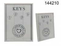 White wooden key holder, I love my home, with 4 ...