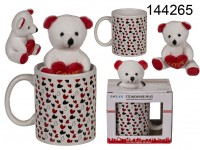 White mug, with little hearts, & plush teddy,, ...