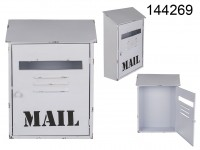 White metal letterbox, Mail, approx. 25,5 x 37 ...