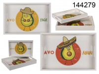 White wooden tray, Avocado, set of 2 pcs., ca. 35 ...