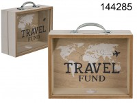 Wooden savings box, Travel Fund, approx. 20,5 x ...