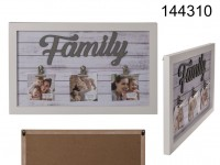 White coloured wooden frame, Family, with 3 clip ...