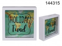 White Plastic Savings Box, Holiday Fund, world ...