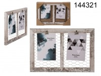 White coloured wooden deco  frame, with two clip ...
