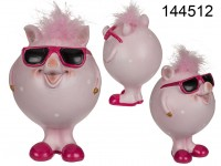Polyresin Piggy, Cool, approx. 10 x 15 cm, 432/PAL