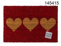 Red coloured floor mat, with 3 hearts, ca. 60 x ...
