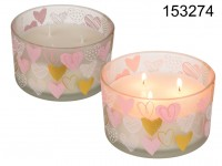 White scented candle in glass, with heart motive, ...
