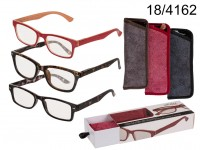 Reading glasses with plastic frame & fabric ...