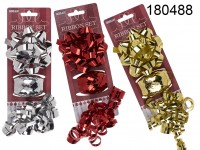 Ribbon set of 3 pcs. , red/silver/gold ass., bow ...