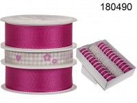 Pink/creme coloured ribbon, ca. 25 mm x 3 m (24 ...