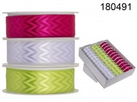 Pink/green/white coloured ribbon, ca. 25 mm x 3 ...