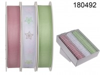 Pastel coloured ribbon, withe stars, ca. 15 mm x ...