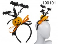 Plastic hairband with black fabric, pumpkin & ...