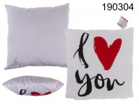 White decoration cushion, I love you,  red heart ...