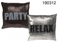 Silver/black coloured sequin cushion, Relax & ...